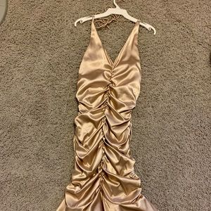 Cache gold satin dress